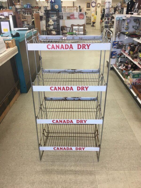 Vintage Canada Dry Ginger Ale General Store Metal Wire Display Rack 4 Shelf