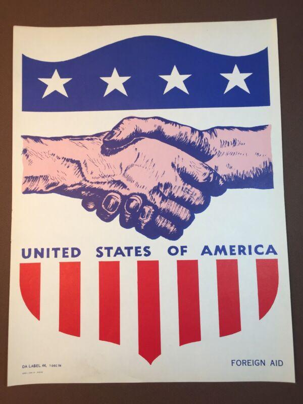 Original USA FOREIGN AID Poster US Army SCARCE ~ DA label 44 Dec 1956