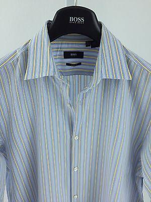 Hugo Boss Mens Large 16.5, 32/33 Light Blue striped Long Sleeve K-68