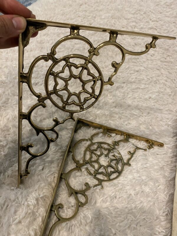 """Solid Brass SHELF BRACKETS Victorian Style Vintage Scrolled 8"""" X 10"""" 4 Pairs Ava"""