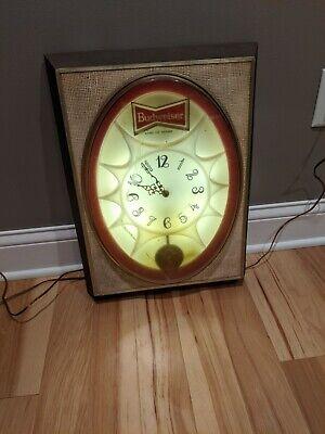 Vintage Budweiser Beer Pendulum Hanging Lighted Advertising Clock Sign