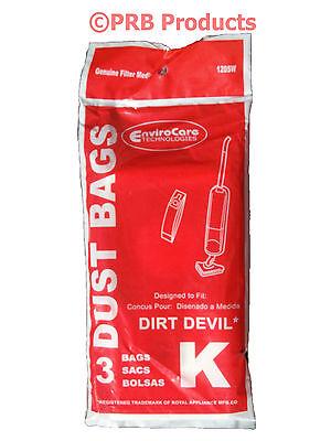 Royal Dirt Devil Broom Part No. 3320230001 Type K Vacuum Cleaner Bags Stick Vac