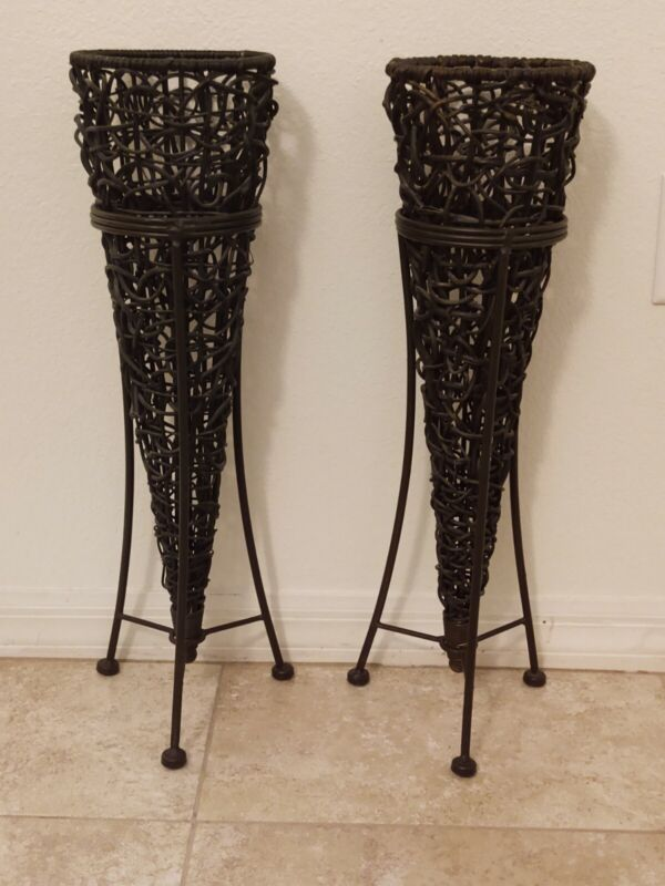 Pair of Wicker Cone-Shaped Vases in Metal Stands