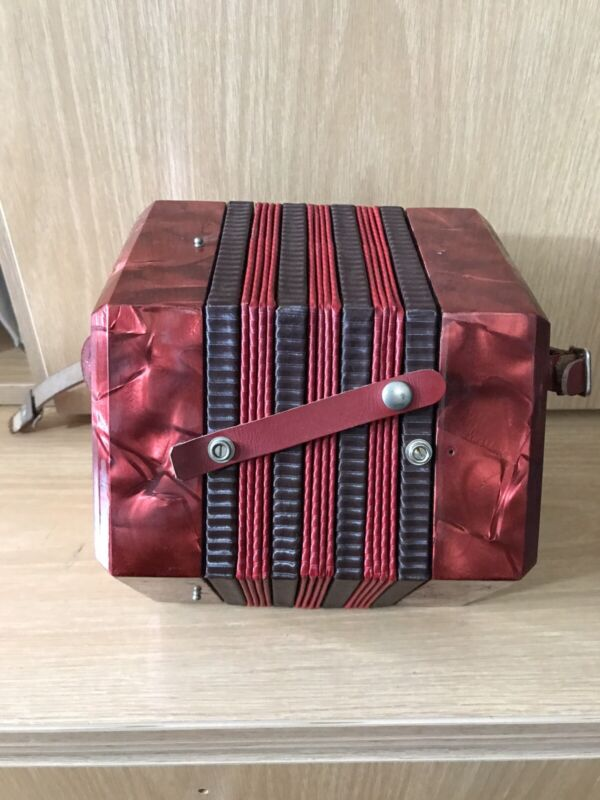 Vintage Concertina Red Squeeze Box For parts or reconditioning