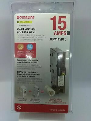 Square D Homeline Hom115dfc Dual Function Afcigfci Breaker 15a New In Box