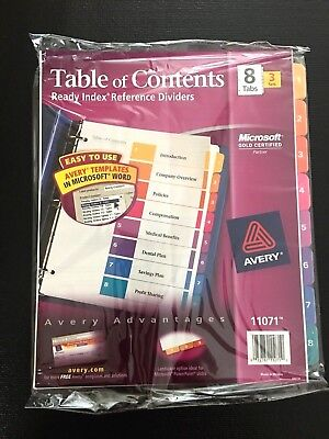 Avery Ready Index  Dividers 8  Tab  3 Sets
