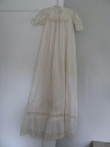 ANTIQUE BABY CHRISTENING DRESS BRODERIE ANGLAISE WHITEWORK GOWN LONG