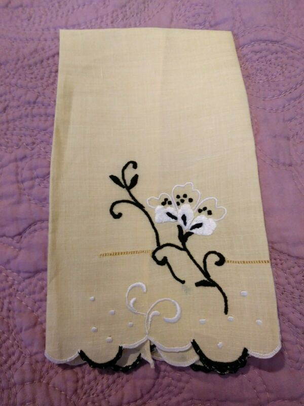 """Gorgeous Madeira Embroidered Floral Fine Yellow Linen Hand Towel 13 x 8"""""""