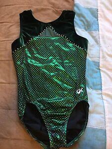 Green gymnast leotard