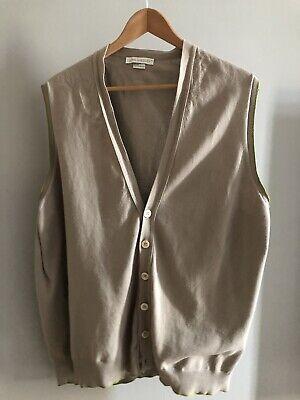 Men's John Smedley Button Up Sleeveless Vest XXL Beige/Light Brown