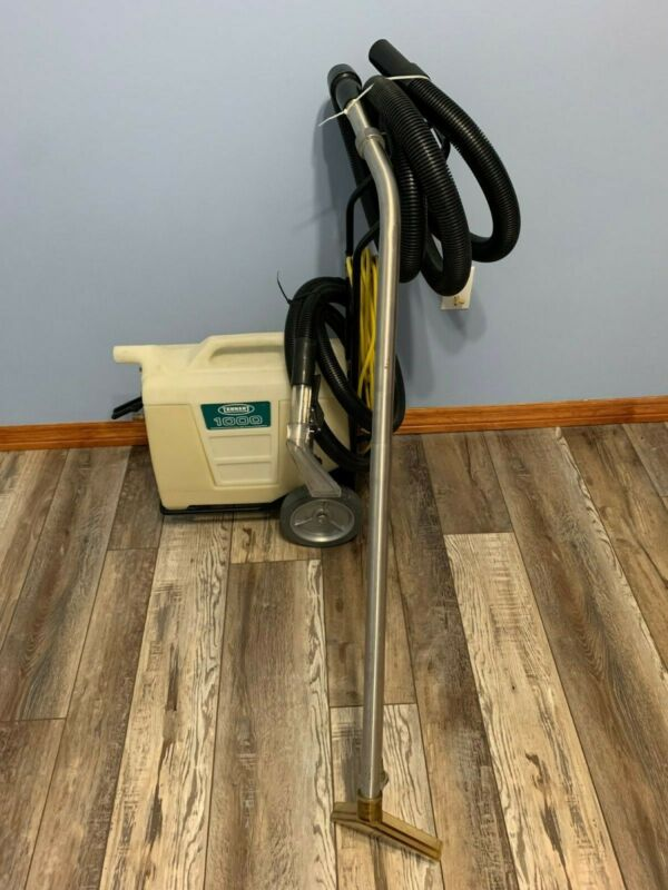 Tennant 1000 Portable Carpet Spot Extractor with cart, hand tool and floor tool.