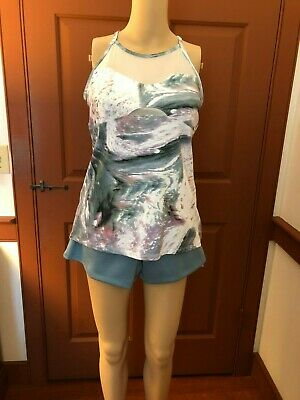"Fabletics Short and Top Outfit, NWT, Sz M, Grn/Blue Shorts, Multi Top, 3"" inseam"