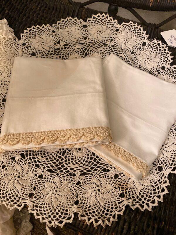 Antique French pure Cotton Linens pillowcases Crochet Exquisite Standard