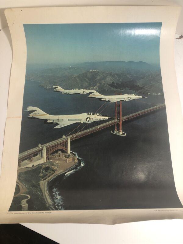 "F-101 Voodoos Over The Golden Gate Bridge USAF Print US Air Force 22"" x 17"" 1969"