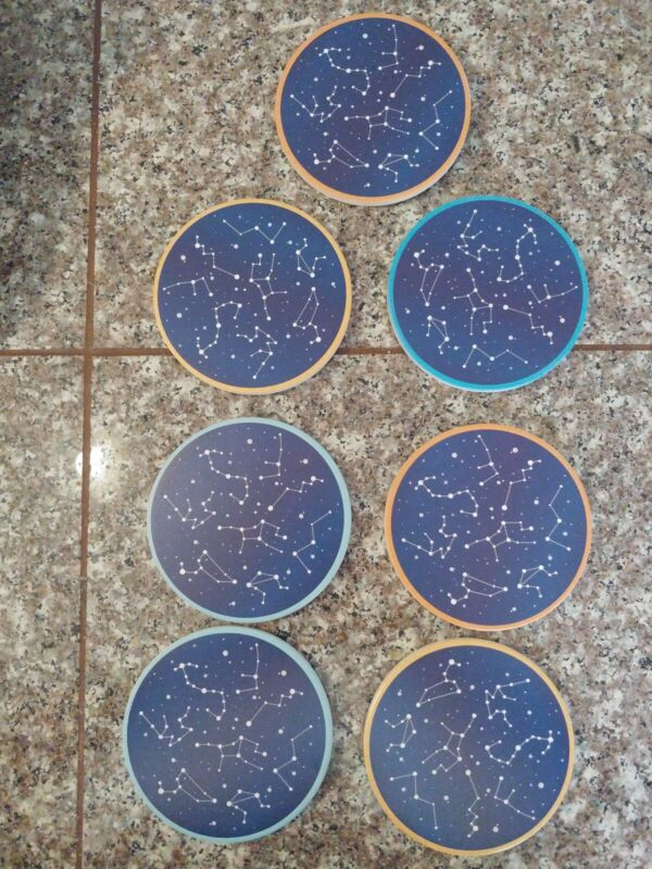 Set Of 7 Coaster Drinks Absorbent Stars Constellation Ceramic Coasters Cork Base