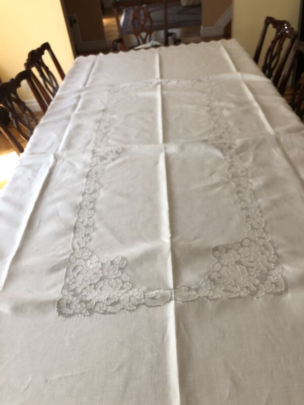 GORGEOUS Antique Linen Lace Tablecloth Hand Made Mosaic PRISTINE Banquet 68x 110