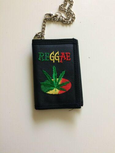 """Bob Marley Reggae Leaf Wallet 3 1/2"""" X 5"""" Mint, Embroidered/Logo Tri-Fold Black"""