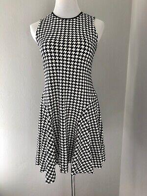Lauren Ralph Lauren P M Black White Houndstooth Print Stretch Fit & Flare Dress