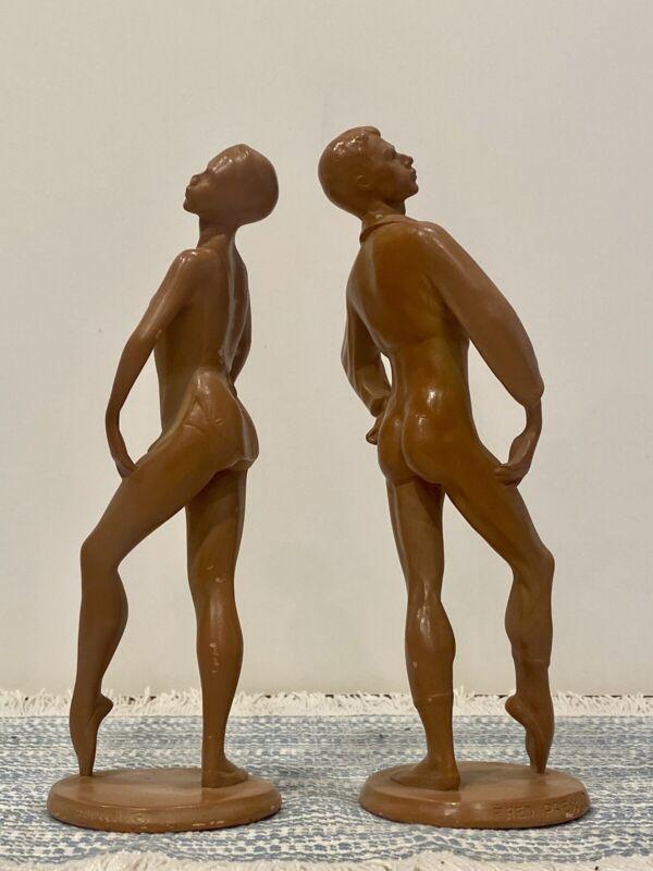 2 FRED PRESS (1919-2012) Ceramic Ballet Dancer Ballerina Sculptures Figurines