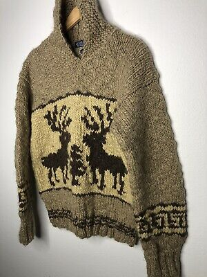 Polo Ralph Lauren Medium Sweater Shawl Hand Knit Reindeer RRL VTG Cowichan Aztec