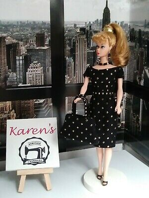 1950s Vintage Style for Barbie Doll, Ooak, new Dress, belt, purse, jewelry