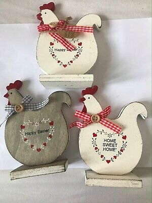 Shabby Chique wooden chickens Happy Easter, Home Sweet Home 13 by 9 CM