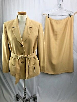 Belted Womens Skirt Suit - Le Suit Womens Yellow Skirt Suit and Belt 14 Career