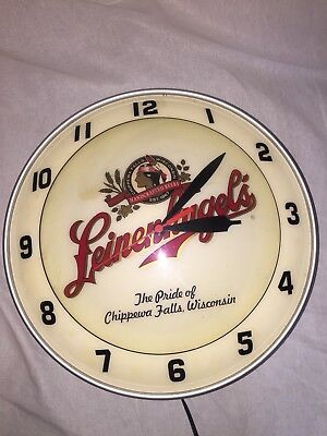VINTAGE LEINENKUGELS BEER SIGN LIGHTED ELECTRIC BUBBLE CLOCK PUB BAR LEINIE RARE