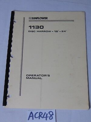 Operators Manual Farm Book Sunflower Equipment 1130 Disc Harrow 18-24