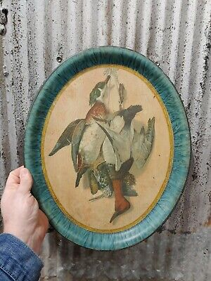 Antique Tin Litho Ducks Tray Sign Duck Hunting Remington Winchester Advertising