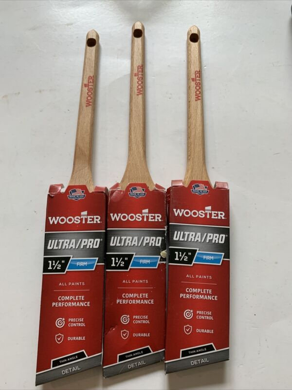 (3) Wooster Ultra Pro 1 1/2 inch Thin Angle  Nylon Polyester Paint Brushes Brush