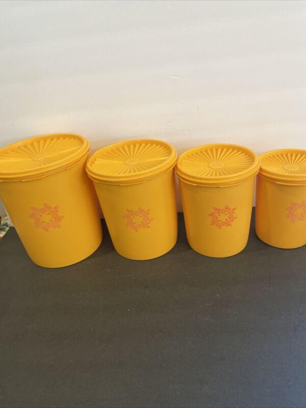Vtg Tupperware Canister Set Lids Yellow Orange Goldenrod 805 807 809 811 EUC