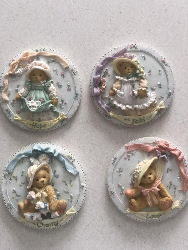 VTG 1994 Cherished Teddies Wall Plaque Set of 4 Love Hope Faith Charity 104140