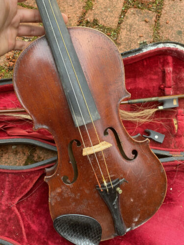 "Antique 23.5"" Violin Medium With Case and Bow 29"" Silver Wire signed French"