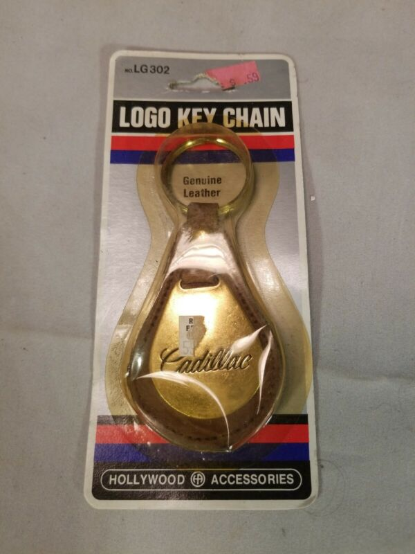 Vintage Cadillac Key Chain Fob Ring Leather Solid Brass New in Package