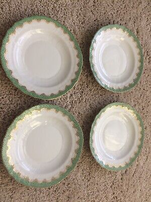 Set Of 4 Herend Fish Scale Jade Salad Plate New
