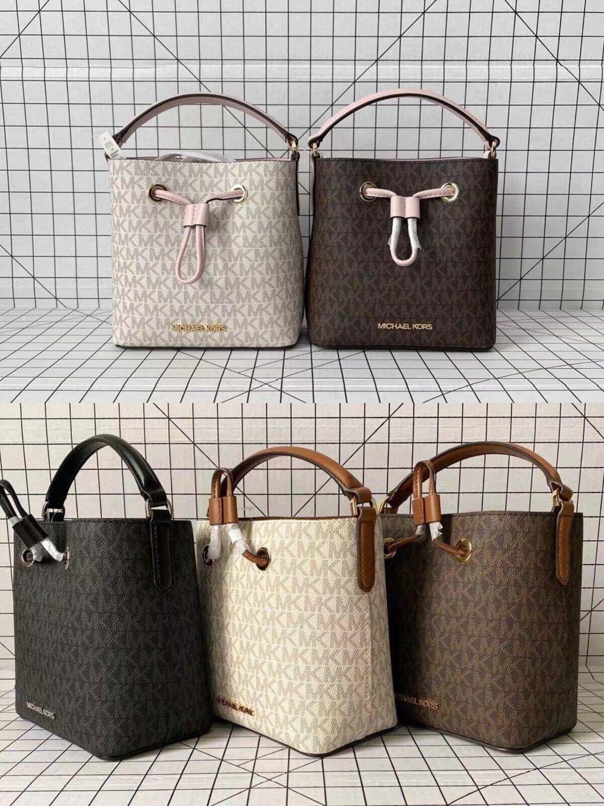 Michael Kors Suri SmallMini Bucket Crossbody Drawstring Signature MK Bag