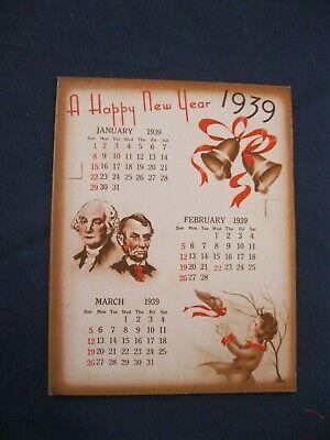 Vintage 1939 Monthly Calendar Abe HALLOWEEN Turkey Witch Bride Fireworks R