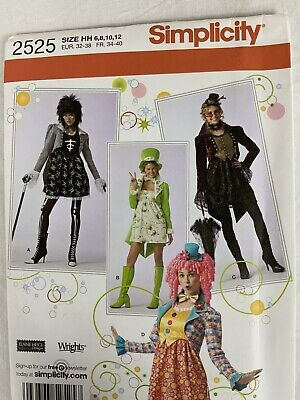 Misses Costume Steampunk Clown Hats Sizes 6-12 Simplicity 2525 Sewing Pattern