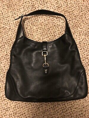 Gucci Handbag Authentic Jackie O Soft Black Leather. Used. Small Marks.