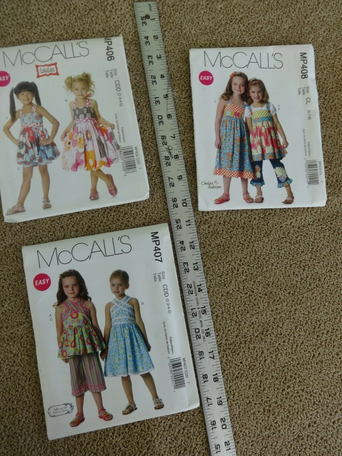 Lot of 3 McCalls Girl Easy PATTERNS - All or Your Choice New