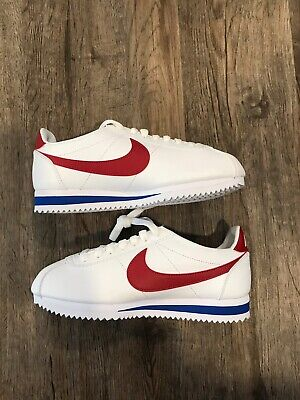Nike Women's Classic Cortez Leather Forest Gump White Red Blue 807471-103 Sz 9.5