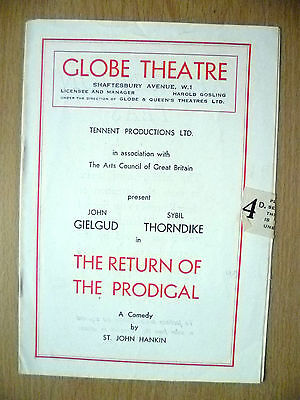 Globe Theatre Programme 1949-Tennent's THE RETURN OF THE PRODIGAL by St J Hankin