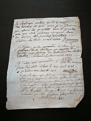 MANUSKRIPT AUS DEM JAHR 1822 AUF PAPIER SCHREINER AN RICHTER FRANKREICH