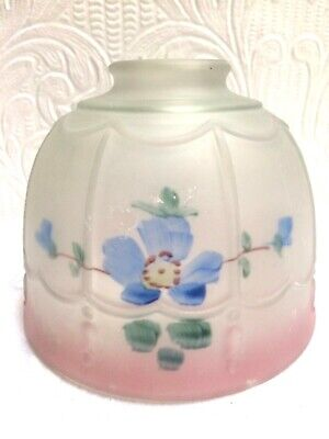 Beautiful Antique Reverse Painted Frosted Glass Lamp Shade