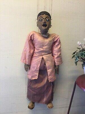 Vintage Indian/ Indonesian? Ex-large 69cm Puppet Tongue Sticks Out Marionette