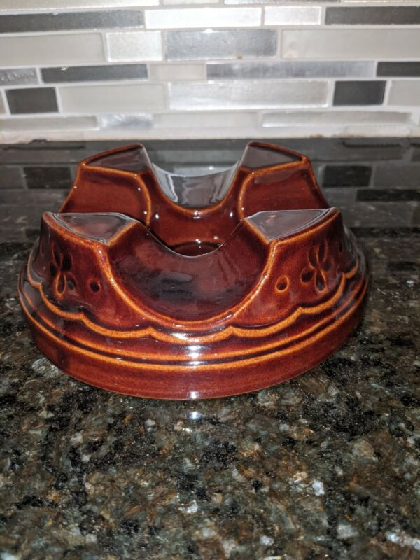Marcrest Stoneware Daisy Dot Brown Casserole Candle Warmer Base Stand Vintage