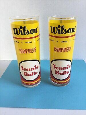 Vintage Wilson Championship Tennis Balls Drinking Glasses Set of 2 Tumblers EUC