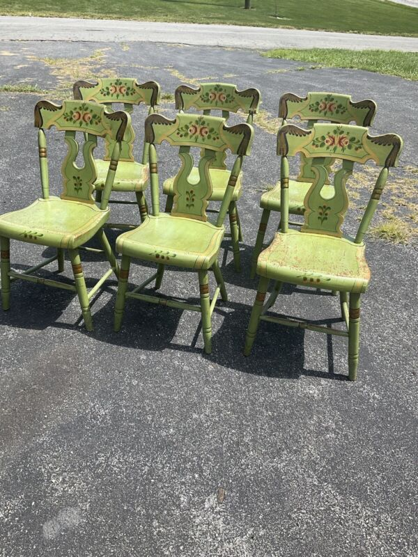 set of 6 green paint decorated lancaster county plank seat chairs NICE !!!