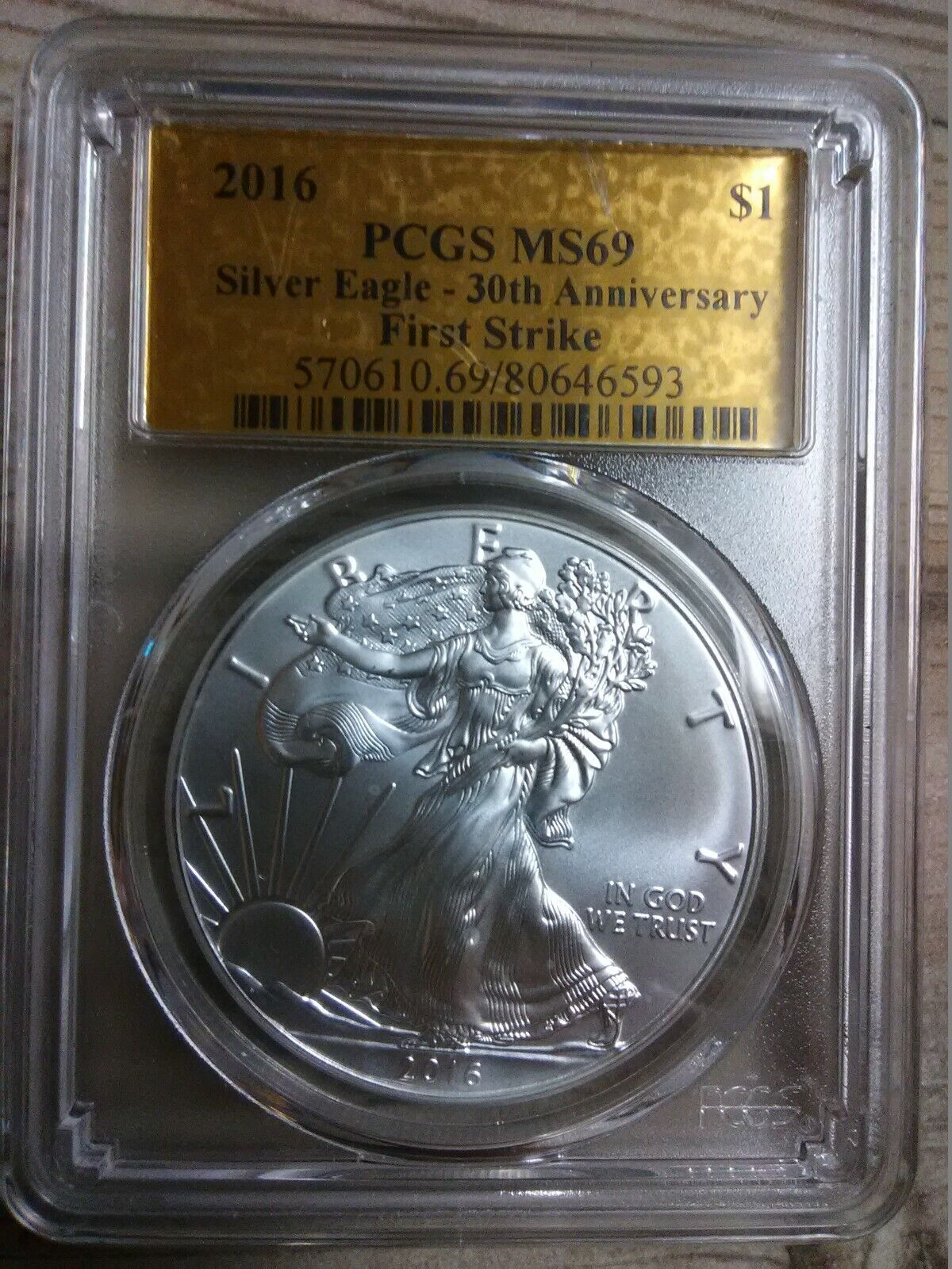 2016 PCGS MS69 Silver Eagle First Strike Gold Foil Label 30th Anniversary - $54.00